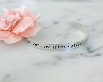Winnie the Pooh Inspired 'Braver • Smarter • Stronger' Bracelet | Birthday or Christmas Gift for Her | Available in Gold or Silver