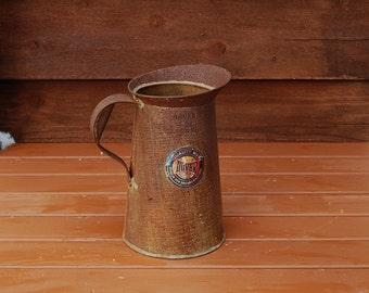 Large Tin Pitcher, Vintage Tinware Pitcher, Tin Vase, Dover 4 QT Liq Pitcher, Vintage Metal Jug, Oil Pitcher