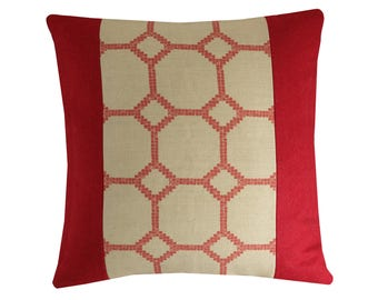 """Red Geometric Lattice Pillow Cover, Red Wool Patterned Pillow, Wool Linen Cushion Cover, Decorative Cushion 16x16"""""""