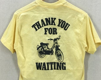 Vintage 80's Women's Chopped and Cropped Thanks For Waiting Bicycle TShirt Sz M