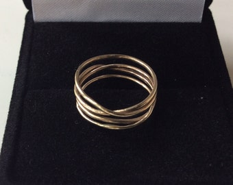 14K Gold Wrap Ring - SOLID GOLD - One Seamless Continuous Four Band Ring - Beautiful Golden Chaos - Marked 14K
