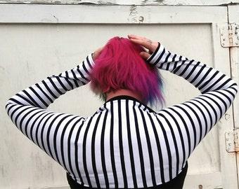black and white stripe longsleeve Shrug bolero jacket cosplay accessory