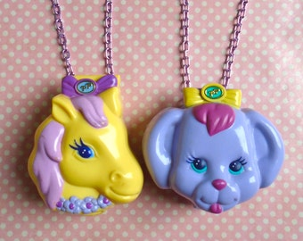 Statement Polly Pocket Dazzling Dog show or Pony Ridin compact necklaces