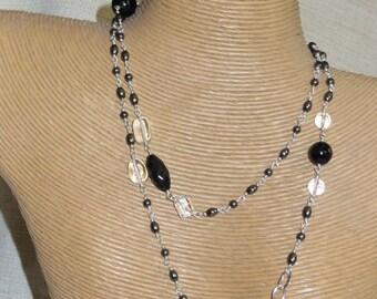 Sterling Silver Black Onyx, Hematite, Quartz Necklace