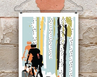 Into The Woods Cycling Print, Print for Cyclists