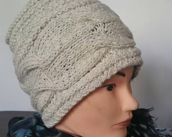 Light Grey Hand Knit Cable Hat Wool And Acrylic