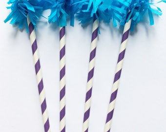 Fringe Straw Drink Stirrers-Turquoise Fringe- Purple & White Straw-Set of 10