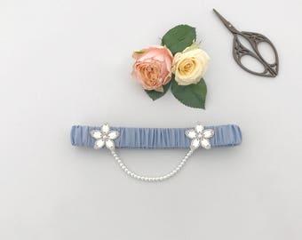 Iva wedding garter / cornflower blue