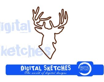 Deer Head Applique Machine Embroidery Design 5 Sizes