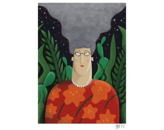 Woman with lots of hair giclee art print printed on giclee paper with archival ink available in Din A4