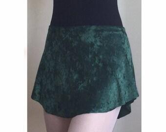 Dark Green Velvet Pull-on SAB style Skirt with elastic waistband