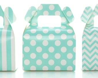Candy Boxes, Aqua Blue Wedding Favors (36 Pack) - Polka Dot, Chevron Zig-Zag, Striped Mini Party Gift Boxes, Treat Box Birthday Decorations