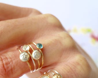 Dainty Initial Rings/ Stacking Initial Rings/ Bridesmaid Gifts Dainty Personalized Rings/ Mama and Baby Stacking Rings/ Mixed Metal Button