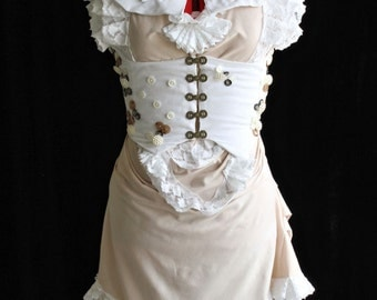 Steampunk Corset Bustle Dress with High-neck Collar Custom Size