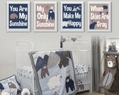 Baby Boy Nursery Art Print. Lambs and Ivy Montana Art. Bear Nursery Art. Bear Nursery Decor. Woodland Nursery Decor. You Are My Sunshine 839