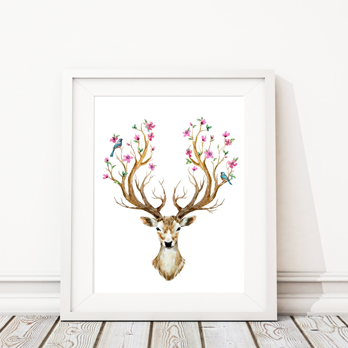 Woodland Nursery Decor Girl Wall Art Deer Antler Wall Decor, Deer Prints,  Animal Prints, Boho Prints For Nursery. Cherry Tree. Birds. S480