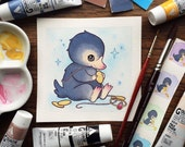 Niffler Fantastic Beasts and Where To Find Them Watercolor Print by Michelle Coffee