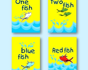 "Dr. Seuss One Fish Two Fish Bathroom Red Fish Blue Fish 8""x10"" Wall Art Prints - Set of 4"