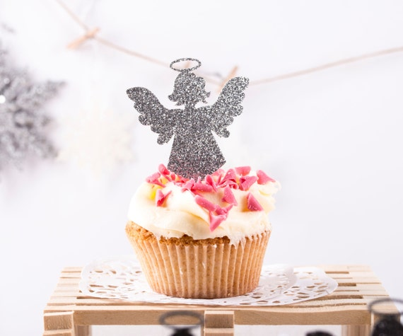 Christmas Angel Cupcake Toppers Party Decoration, Angle Cupcake Toppers, Christmas Decorations, Baptism Cupcake Toppers