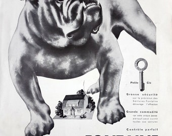 1931 vintage advertising poster for Fontaine Cle Progres security locks, bulldog vintage poster, Rene Ravo original ad, French magazine ad