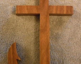 Religious mission Cross wooden, walnut wood, wood cross, cross, wooden cross, rustic cross, christian decor, wall hanging, wall decor