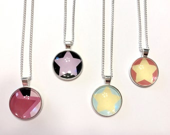 Steven Universe Crystal Gems Inspired Glass Pendants - 4 Styles to Choose From