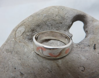 Ring in sterling silver and copper appearance mokume