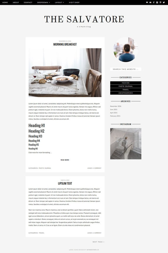 Premade Wordpress Theme - Blog Responsive Wordpress Template Design - Genesis Child Theme // 'Salvatore'