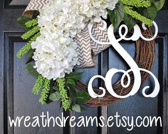 BEST SELLER! White Hydrangea Wreath. Burlap Wreath. Year Round Wreath. Spring Wreath. Summer Wreath. Monogram Wreath. Door Wreath