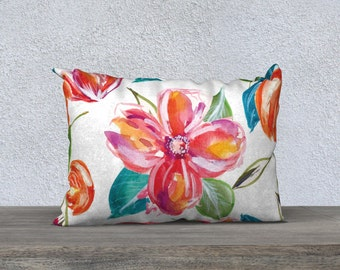 Tropical Flowers Pillow Cover - Modern Flowers Cushion Cover - Modern Decor - Floral Pillow Cover -18x18 or 20x14 - Decorative Pillow