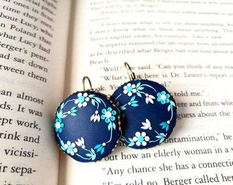 Gift ideas for her, Navy blue earrings, polymer clay, hand embroidered earrings, blue flower earrings, dark blue, romantic earrings, gift
