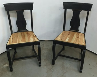 Matte Black & Reclaimed Wood Dining Chairs
