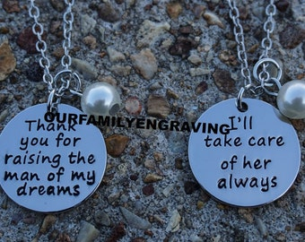 ON SALE Thank you for raising the man of my dreams Ill take care of her always gift for Mother in law MIL Hand stamped pendant necklace set