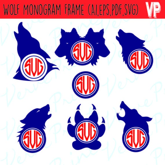 wolf svg wolf monogram svg ai eps pdf monogram silhouette wolf monogram frames svg wolf cut files svg cutting file commercial use from verveprint on - Wolf Picture Frames