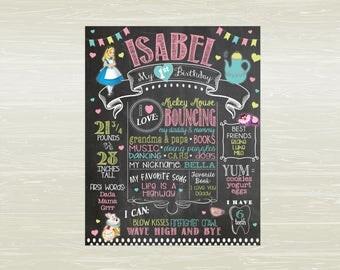 Alice in Wonderland; Onederland First Birthday Chalkboard Style Birthday Poster;  DIGITAL OR PRINTED
