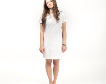White boho dress , embroidered dress , short summer dress , flowers embroidery