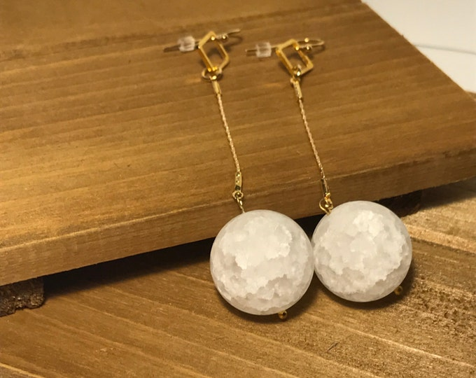 Geometric Gold-Plated White Stone Drop Earrings