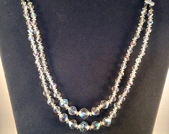 Two Strand Vintage Aurora Crystal Necklace
