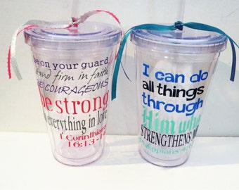 Biblical verse etsy custom bible verse tumbler gift biblical quote mason jar mug baptism gift negle Images