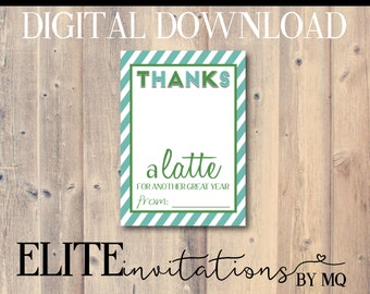 Thanks A Latte Card. Perfect For Coffee Gift Card. Starbucks Gift Card, Printable, End of Year Thank You Card