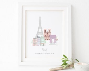 Personalised Paris City Print - Paris Print - Paris City Print - Personalized City - City Prints - Art Prints - Paris Art - Honeymoon Gift