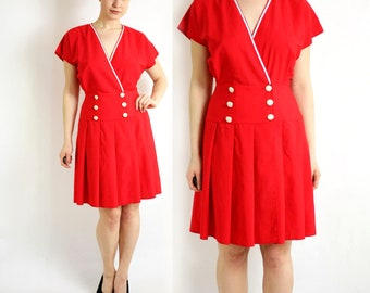 Vintage 80's JUST IN  Red Pleated Marine Dress Short Sleeves Pearly Buttons