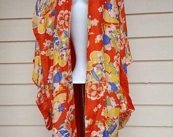 Vintage Red Floral Silk Kimono Robe - Large