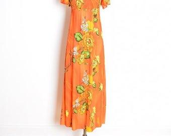 vintage 70s dress, 70s maxi dress, hawaiian print dress, orange dress, floral print dress, printed maxi dress, 1970s 70s clothing, XS