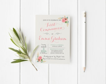 First Communion Girl Invitation printable, Invitation First Communion floral printable, First Holy Communion party invitation, Communion