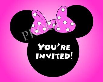 Minnie Party Invitations-- 5x7 Digital