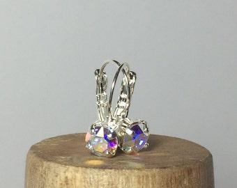AB Crystal Swarovski Crystal Earrings ~ Swarovski Solitaire Earrings ~ Aurora Borealis Earrings ~ AB Crystal Earrings ~ Leverback Earrings