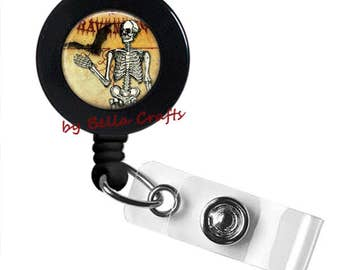 Skeleton Bat, Badge Reel, Halloween, Gothic, Horror, ID Holder,State Worker,Teacher, Nurse, Doctor, Geeky, Accessory, Retractable, Belt Clip