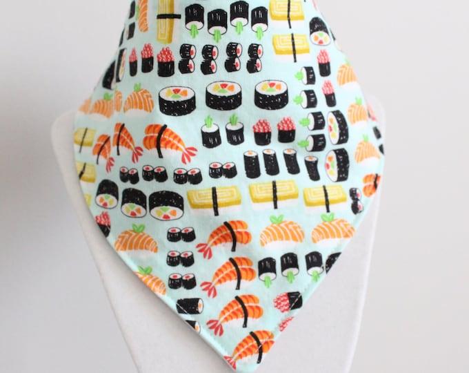 Featured listing image: sushi fabric bandana style drool bib
