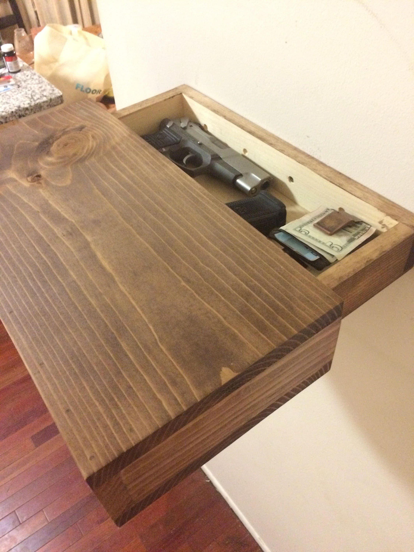 rustic wood floating shelf with hidden compartment magnetic. Black Bedroom Furniture Sets. Home Design Ideas